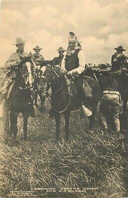Apache Indian Chief ~GERONIMO on Horseback~ Amazing Old Postcard, 1907