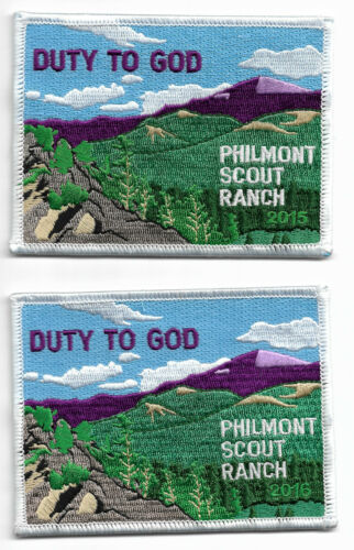 PHILMONT SCOUT RANCH * DUTY TO GOD * 2015 & 2016 DATED PATCHES * SET OF (2)