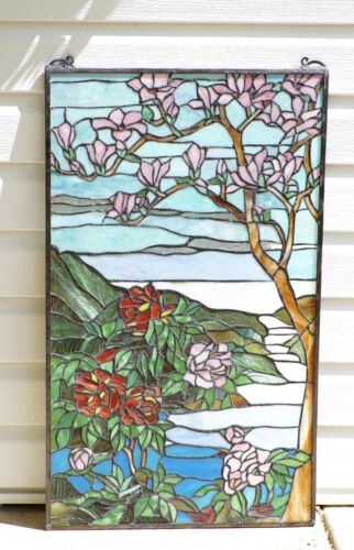 """20"""" x 34"""" Large Handcrafted stained glass Jeweled window panel Cherry Blossom"""