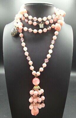 60s -70s Jewelry – Necklaces, Earrings, Rings, Bracelets Vintage Pink Tassel Pendant Necklace 1960's $39.99 AT vintagedancer.com