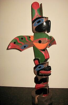 "VINTAGE NICE SIZE (26"") NORTH WEST ALASKA CARVED WOOD TOTEM POLE"