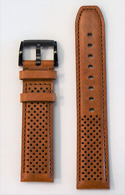 Original Movado BOLD 21mm Cognac Brown Leather Band Strap Fits 43.5mm Watches