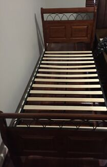 Single Bed, Mattress and Bedside Table