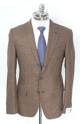 NWT CARUSO Brown Gingham Wool Cashmere Notch Lapel Sport Coat 36 R (EU 46)