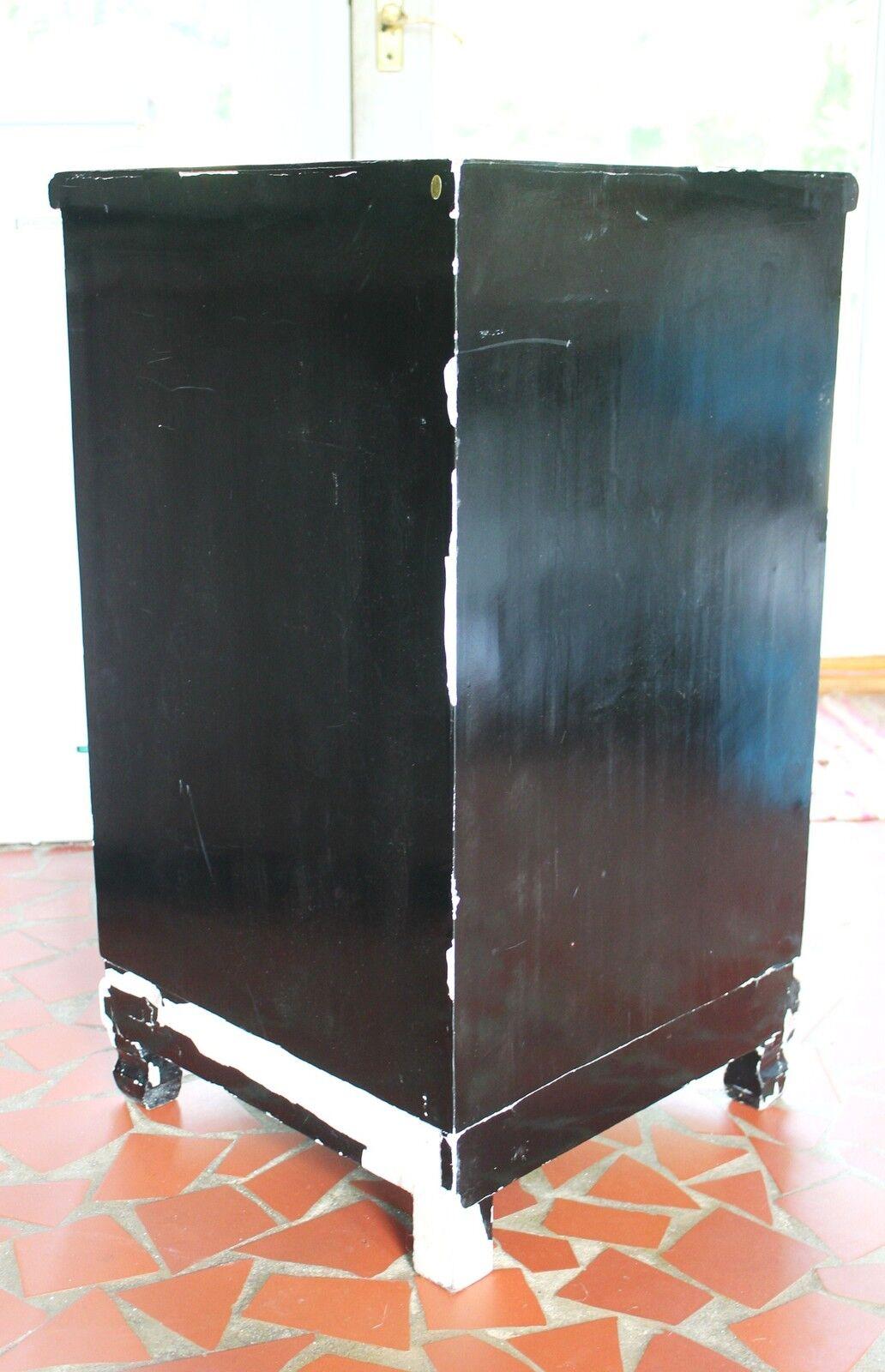 Vtg oriental chinese furniture black lacquer corner for Asian furniture emeryville ca