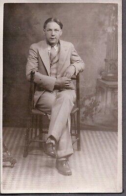 Men's 1920s Style Ties, Neck Ties & Bowties VINTAGE RPPC 1920'S-30'S MEN'S TIE/SUIT/HAIR FASHION NEW YORK OLD PHOTO POSTCARD $6.00 AT vintagedancer.com