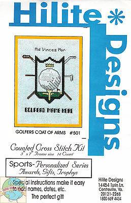 Cross Stitch Kit ~ Golfer Coat of Arms #HD501 OOP SALE!