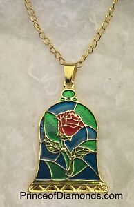 Gold coloured Beauty & the Beast rose adjustable necklace