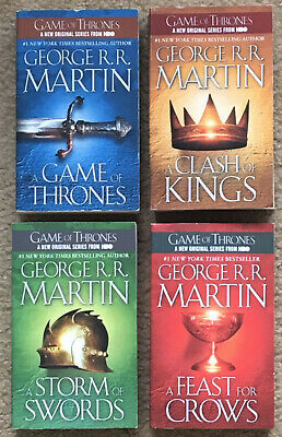 Lot of 4 Game of Thrones Paperbacks, 1-4 Clash of Kings, Storm of Swords