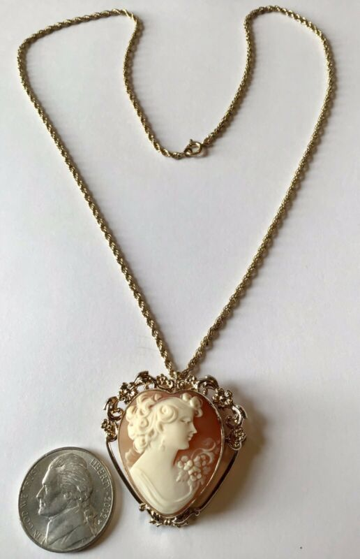 VINTAGE ART DECO 12K GOLD FILLED SHELL CAMEO HEART PENDANT NECKLACE
