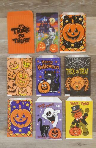 Vintage Halloween Paper Candy Treat Bags Set of 9 JOL Cat Spider Pumpkin Ghost