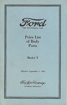 Model T - Price List of Body Parts