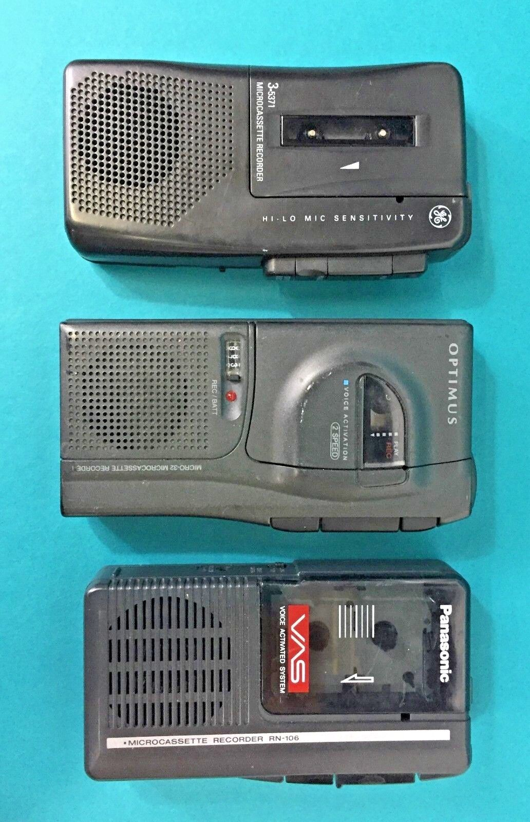 GE Panasonic Optimus Handheld Microcassette Recorder Non Working Parts Lot