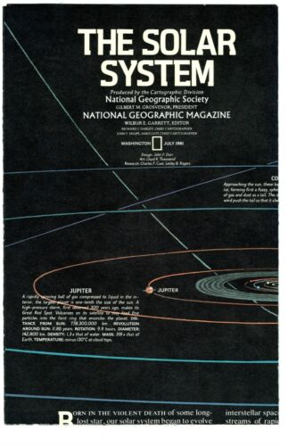 ⫸ 1981-7 The SOLAR SYSTEM – National Geographic Map Poster School Home Guide