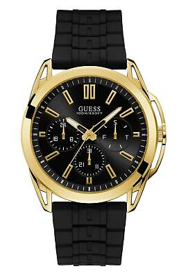 Guess W1177G2 Men's Gold Tone Silicone Band Multifunction Black Dial Watch