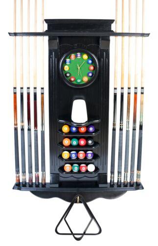 Cue Rack Only- 10 Pool Cue - Billiard Stick + Ball Set Holder Wall Rack W Clock