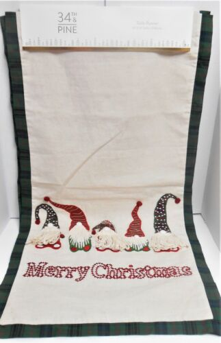 34th & Pine Merry Christmas 5 Embroidered Gnomes Table Runner New