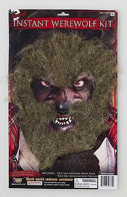 Werewolf Facial Hair Kit Self Adhesive Costume Beard Eyebrows Chin Adult Mens (Costume Eyebrows)