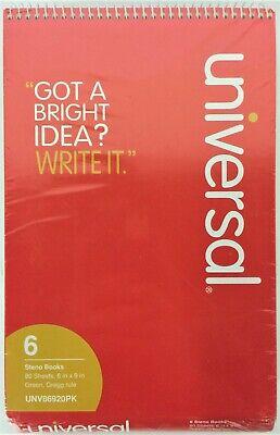 Universal Steno Books Gregg Rule6 X 9green Tint 80 Sheets6packunv86920pk