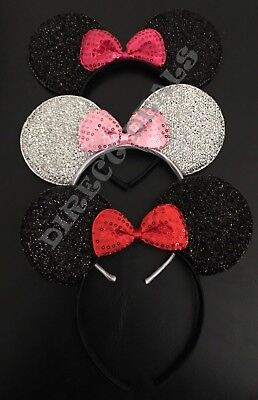 3 pc Minnie Mouse Ears Headband Sparkly Black Pink Bow Red Silver Adult Kid Cute (Minnie Mouse Stuff)