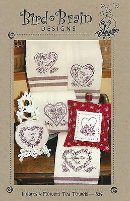 """Bird Brain Designs """"Hearts and Flowers"""" Tea Towels Stitchery Pattern MPN 524"""