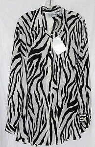NWT DIANE VON FURSTENBURG WOMEN'S BLACK WHITE PRINT SHEAR SUMMER SHIRT 2X!