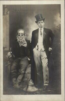 Halloween Costumes Rich Man (Costumes - Halloween? Hobo Tramp & Rich Man c1910 Real Photo)