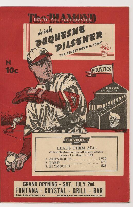 1938 Pittsburgh Pirates-Reds Program Vander Meer Wins10th GEM!!