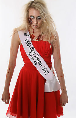 LITTLE MISS ZOMBIE HALLOWEEN BEAUTY PAGEANT SASH CHEAP LADIES FANCY DRESS COSTUM - Halloween Zombie Costumes Cheap