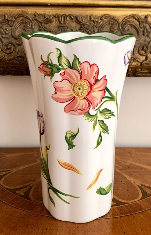 TIFFANY Petals Scalloped Vase 1998 Portugal Floral Flowers Rose Tulip Sunflower