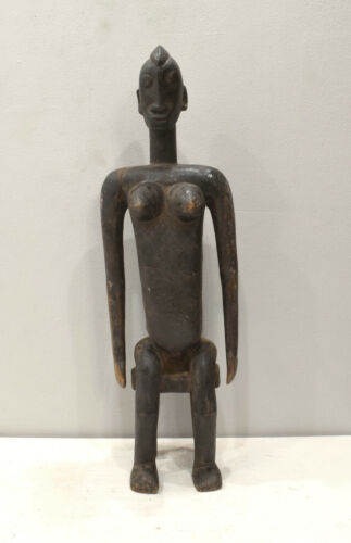 Statue African Bamana Female Statue Carved Child Seated Statue