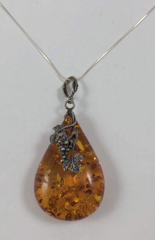 Beautiful Large Southwest Sterling Silver Faux Amber Necklace