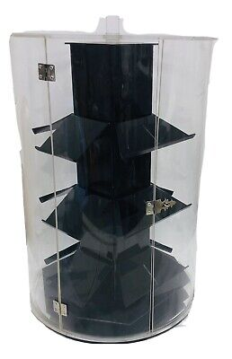 Cylinder Acrylic Jewelry Retail Display Case Counter Top Spinner 17 Tall