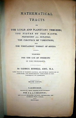 Airy 1831 Astronomy  Tracts On Lunar   Planetary Theory  Optics  Physics