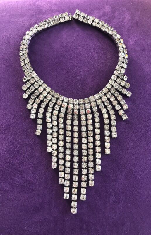VINTAGE Rhinestone Choker Necklace Silver Sparkle Statement Piece
