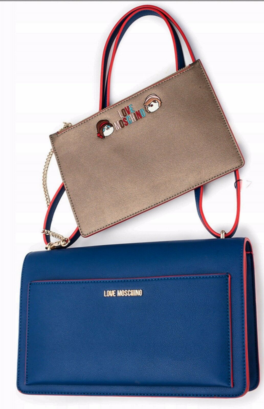 NEWT AUTH LOVE MOSCHINO BLUE RED SHOULDER BAG HANDBAG W INSIDE POUCH