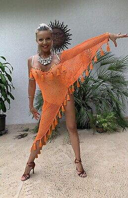 New Women Latin Rhythm Salsa Swing Fringe Dance Costume Dress SGD09FP S-XL