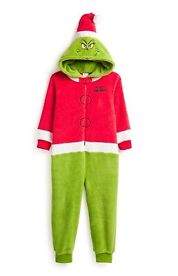 Grinch Characters Costumes (Dr Seuss The Grinch fancy dress costume Character Hood & Santa Hat 7-11y)