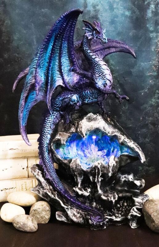 "Ebros Aqua Dragon Fossil Cave Crystal Guardian LED Night Light Figurine 12.5""H"