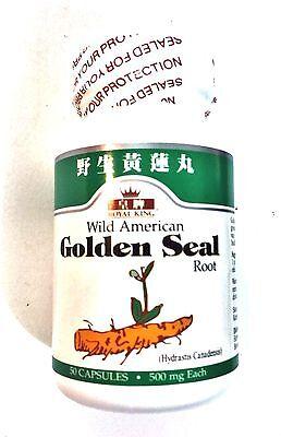 Goldenseal Root 50 Caps - 2 x 50 caps, Royal King Wild American Golden Seal Herb 500 mg- Golden seal root
