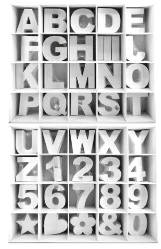 3 D Holz Buchstaben weiß 11 cm MDF A-Z  Deko Schrift Buchstabe Alphabet Zahlen