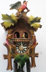 RARE GERMAN BLACK FOREST CARVED 3 BIRDS COLOR SWISS MUSIC DANCERS CUCKOO CLOCK!