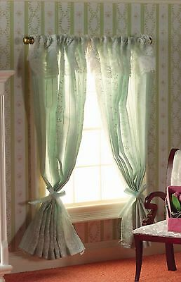 Dolls house Miniature 1/12th Scale Emporium Curtains Fixed  on a Pole Pale Green