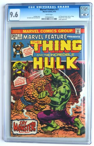 MARVEL FEATURE #11, 1973 Bronze Age, THING vs. HULK!, Starlin, CGC 9.6, WHITE pg