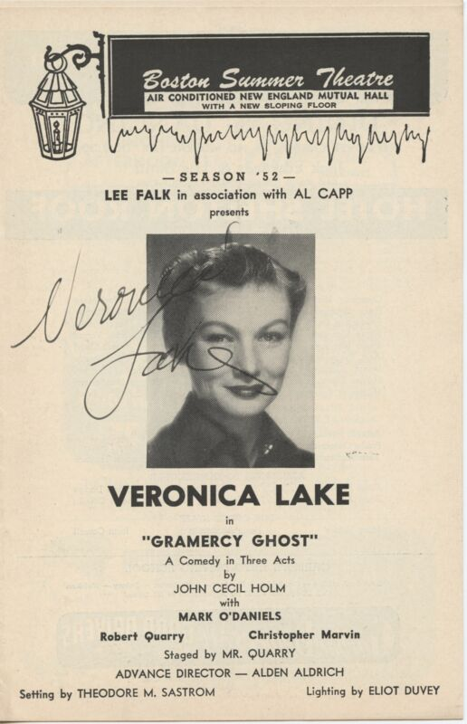 """Veronica LAKE (Actress): """"Gramercy Ghost"""" - Signed Program"""