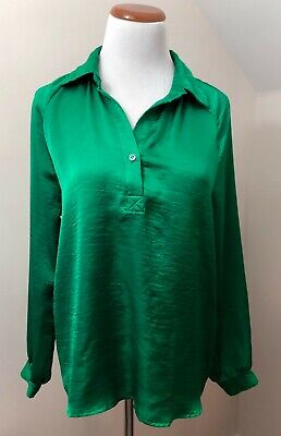 Isaac Mizrahi New York Emerald Green Collar Blouse - Size 6