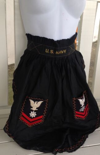 Vintage US Navy USA Pin Up Eagle Stitch Logo Nautical Half Apron Lingerie *WoW*