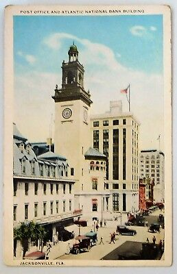 c1920 POSTCARD - POST OFFICE & ATLANTIC NATIONAL BANK   JACKSONVILLE,FLA.