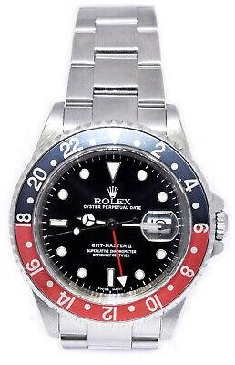 Rolex GMT-Master II Steel Red/Black Coke Bezel Mens 40mm Watch 16710