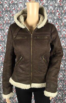 Maralyn & Me Women's Brown Faux Fur Zip Up Hoodie Jacket 4 Pockets Size Medium